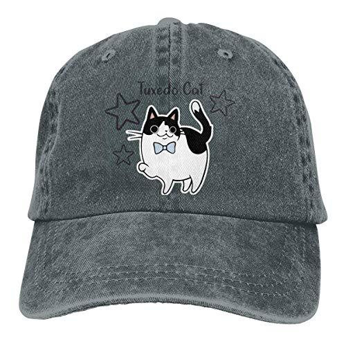 Nifdhkw Tuxedo Cat Unisex Washed Adjustable Vintage Cowboy Hat Denim Baseball Caps Multicolor17