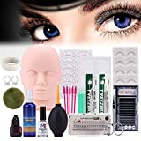 Mysweety Practice Mannequin Head for False Eyelash Extension Makeup Practice Kit Manikin Cosmetology Artist Doll Head Make up Training False Eye Lashes Extensions Tool Set