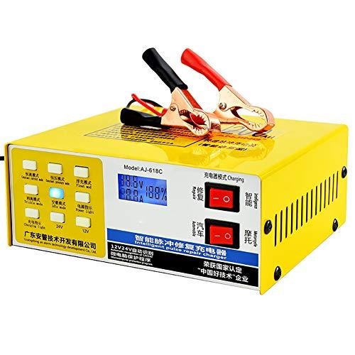 YTBLF Caricabatteria Auto 12V / 24V, Protezione Intelligente Riparazione degli impulsi, Adatto Batteria capacità 60AH-200AH, Batteria a Secco, Batteria Piombo, Batteria esente Manutenzio