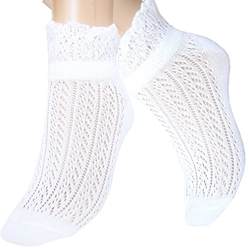 JHosiery Damen Baumwoll Pointelle Söckchen mit Rüschen (35-38, 3 Paar Weiß) - Weiße Baumwolle Mit Pointelle