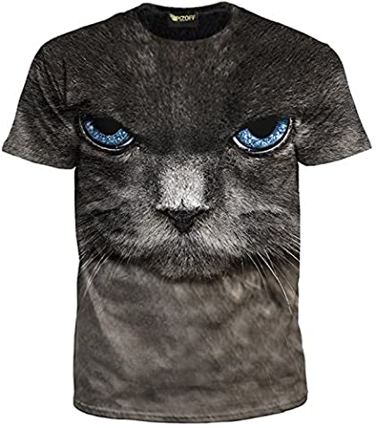 Pizoff Unisex T Shirts with colorful Cats 3D Animation Digital Printing