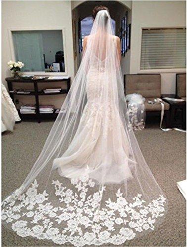 Interesting® Elegante 1 Layer-Weiß-Elfenbein-Kathedrale 3M Länge Spitze-Rand-Braut Hochzeit Brautschleier + Comb (Spitze Applizierte)