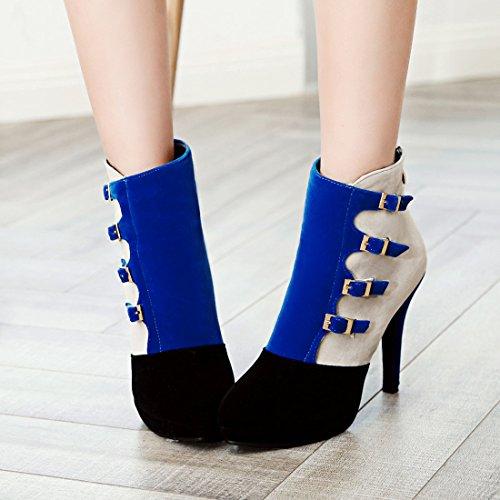 YE Damen Elegant Moderne High Heels Plateau Stiletto Stiefeletten mit Schnallen und Reißverschluss 8cm Absatz Nubuckleder Ankle Boots Blau