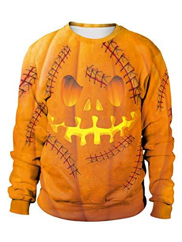 Dream3. Unisex Halloween Pullover Lange Ärmel Rundhalsausschnitt Sweatshirt 3D-Druck Halloweenkostüm Übergröße Jumper (Pumpkin1, L)