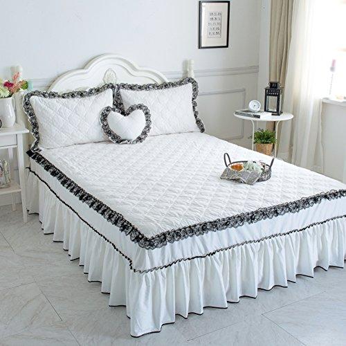 Bettrock Tagesdecke Verdicken sie Koreanische version Bett sets Anti-schleudern 100 % baumwolle Spitze Gesteppt-C 120x200cm(47x79inch)Version B (Bett Frame-set)