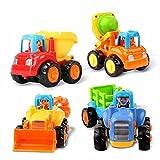 Spielzeug zur Entwicklung von Kindern, ab 18 Monaten, Spielzeug-Set bestehend aus 4Stück, Traktor/Bulldozer/Mischwagen/Kipper, für Jungen und Mädchen