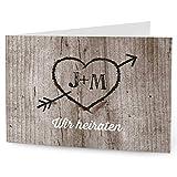 greetinks 20 x Personalisierte Einladungskarten zur Hochzeit 'Holz Liebe' in Weiß | Hochzeitskarten zum selbst Gestalten | 20er Set Hochzeitseinladungen