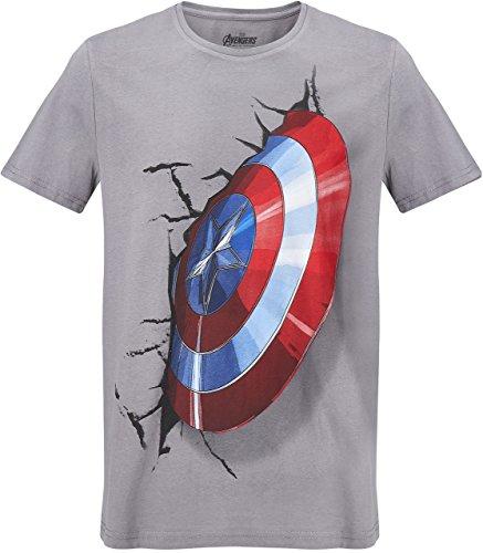GOZOO The Avengers T-Shirt Herren Captain America's Shield 3d 100% Baumwolle Grau (Captain Anzug America)
