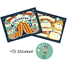 644bb19f772ce 12 Tarjetas de invitación para cumpleaños infantiles del Circo + 13  Pegatinas gratis – para niños