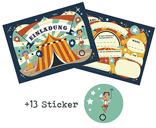 12 Einladungskarten Zirkus zum Kindergeburtstag + 13 Sticker GRATIS - für Jungen und Mädchen/Circus Zirkusparty Mitgebsel Geburtstagseinladungen Karten Einladungen Geburtstag Kinder (Zirkus-party-einladungen)