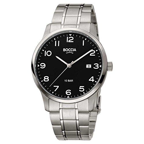 Boccia Herren Analog Quarz Uhr mit Titan Armband 3621-01