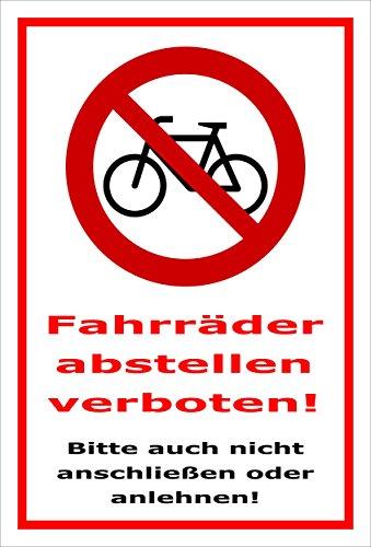 Melis Folienwerkstatt Schild - Fahrräder abstellen - 30x20cm   Bohrlöcher   3mm Aluverbund - S00050-007-B -20 Varianten