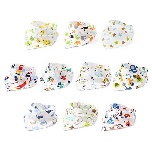 10er Baby Dreieckstuch Lätzchen Jungen Spucktuch Baumwolle Halstücher mit süßen Motiven in unterschiedlichen Farben, Doppellagig Saugfähig
