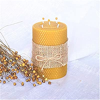100% Beeswax Candle Large Size 13 x 9 cm Eco Candles Hand Rolled Natural and Lovely Honey/Beeswax Scent 100% Handmade With 5 Wicks Decorated