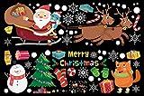 O-Kinee Décoration Noel, Noël Autocollant Fenetre, PVC Vitre Stickers, Electrostatique Amovibles Réutilisables, pour Vitrine Fenetre Vitrophanie Porte Noël Deco DIY