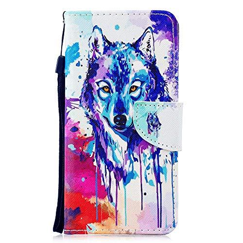 Coopay Slim Kunstleder Flip Bunt Schutzhülle,für Huawei P Smart 2019 / Honor 10 Lite Hülle,Handyhuelle Schutzschale Tasche,Ständer Kartensteckplatz Fall Case Schale,Retro Aquarell Tier Wolf + Lanyard