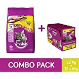 Whiskas Adult Cat Combo Pack of Dry Food (Chicken Flavour, 1.2 kg) & Wet Gravy (Chicken, 85g, 12 pouches)