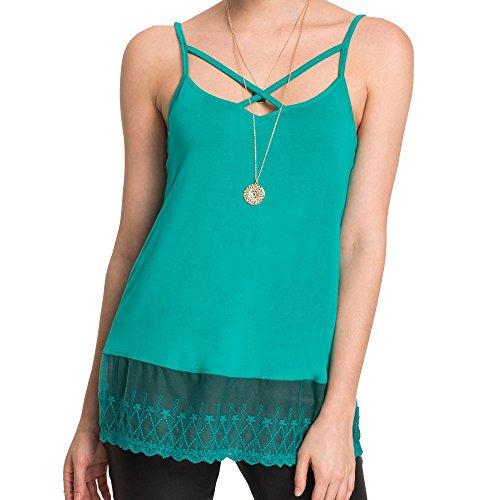 s Große Größen Elegant Ärmellos Hemden Sexy Spitze Sling Bluse Tank Weste T-Shirt Leicht und Luftig (2XL, Pfauen grün) (Sexy Pfau Outfit)
