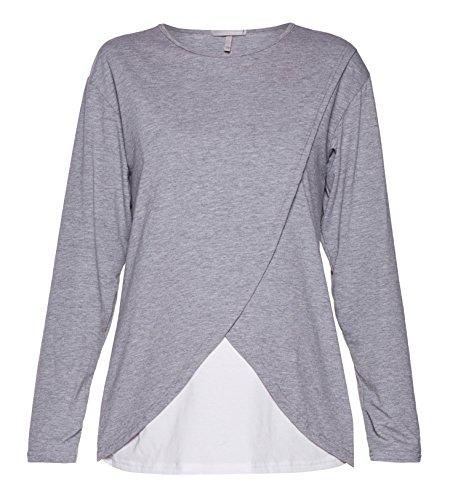 Be! Mama - 2in1 Stillpullover, Sweatshirt, Umstandspulli, Umstandsshirt, Stillshirt, Modell: LAVIS Grau-Weiss