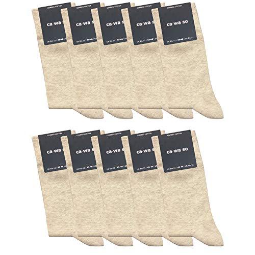 ca·wa·so 10 Paar hochwertige Socken ohne drückende Naht - Damen & Herren - weiche Baumwolle - Business & Freizeit (39-42, beige) -