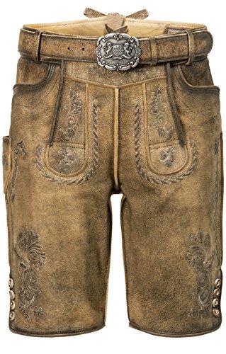 n Lederhose mit Gürtel, Stein Geäscht und Korn Gespeckt, Thomas, Größe:56, Farbe:Korn gespeckt ()