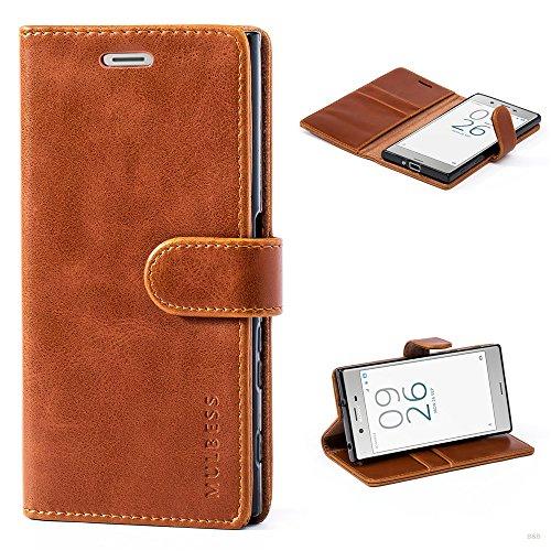 Mulbess Handyhülle für Sony Xperia XZ Hülle, Leder Flip Case Schutzhülle für Sony XZ/XZs Tasche, Cognac Braun