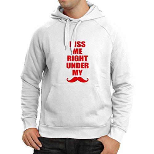 Felpa con cappuccio Baciami proprio sotto i miei baffi - slogan divertenti, idee regalo per lui Bianco Rosso