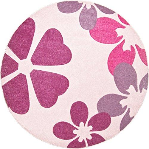 Kinderteppich Mädchenteppich Blumenteppich Kinderzimmer Spielunterlage Blumen Design - weicher Flor komplett umkettelt strapazierfähig pflegeleicht schadstofffrei – hellrosa rosa lila – 120 cm rund