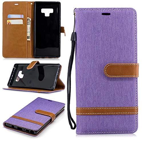Samsung Galaxy Note 9 Hülle TXLING Denim PU Leder Flip Wallet Cover in Book Style Stand Case Card Slot Leder Tasche Case Karteneinschub und Magnetverschluß Kratzfestes für Samsung Galaxy Note 9 - lila