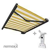 Nemaxx FCA50X Vollkassettenmarkise mit Licht- und Windsensor 5m x 3m gelb-weiß: Kassettenmarkise für optimale Beschattung aus UV-beständigem und wetterfestem Acryltuch - Markise in grauer Kassette - nach DIN EN 13561