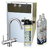 Wasserfilter System ForHome® für die küche Kühler Karbonator Wasseraufbereiter  Mikrofiltrations Wasser Everpure von Spüle, gekühlte Kühlwasser Sprudelwasser mit 5-Wege Hahn + 2 CO2-Zylinder