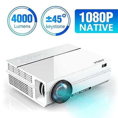 ABOX 4000 Lumen Beamer, Native 1080p (1920 x 1080) LED Videoprojektor tragbarer Full HD, unterstützt HDMI USB SD VGA AV für Amazon Firestick,Laptop,Smartphone perfekt für Fußballspiele,Filme-Weiß