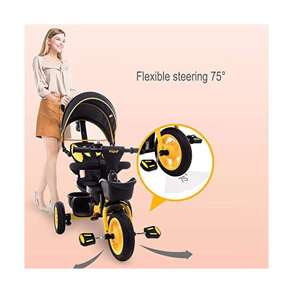 GSDZSY - Luxury 4 IN 1 Children Tricycle, Comfortable Adjustable Seat For The Baby To Sit Or Lie Flat, Removable Push Handle Bar,With Safety Fence,1-6 Years Old GSDZSY ❀ Material: High carbon steel + ABS + rubber wheel, suitable for children from 6 months to 6 years old, maximum load 30 kg ❀ Features: The push rod can adjust the height and control direction, the seat can rotate 360; the baby can lie flat, adjustable umbrella, suitable for different weather conditions ❀ Performance: high carbon steel frame, strong and strong bearing capacity; non-inflatable rubber wheel, suitable for all kinds of road conditions, good shock absorption, seat with breathable fabric, baby ride more comfortable 4