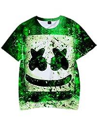 FLYCHEN Camiseta para Niños 3D Impresión Gráfica Marshmello DJ Música Electrónica EDM Cool Hip Hop Boy\'s Fantastic Shirt