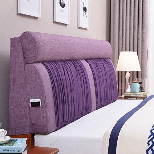 Kopfteil Kissen kein Bett Kopfbrett Lazy Kissen Nacht weichen Paket Einzel- oder Doppel große Rückenlehne Flachs Lendenpolster, 5 Farben, 8 Größen ( Farbe : Light purple+purple , größe : 120*60cm )
