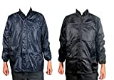 #4: Krystle Men's Combo of Black and Blue Windcheater with Hidden Collar Pocket for Cap