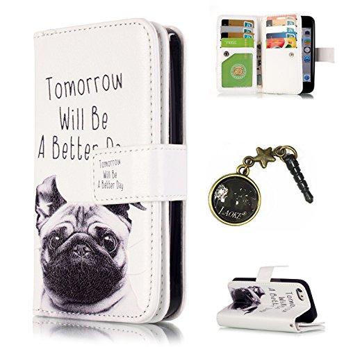 PU Coque Apple iPhone 5 / 5s / SE, Multifonction Case (9 fente) Wallet Cover Etui en cuir Étui de protection flip Wallet stand Cover avec des fentes de cartes pour iPhone 5 / 5s / SE +Bouchons de pous 10