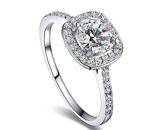 Bling Jewelry Donna Platino/Oro rosa placcato in oro/giallo taglio brillante anello di fidanzamento, placcato platinum, 9,5, cod. 1010035240 - Diamond Ring: Platinum Diamond Band