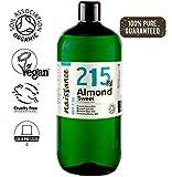 Naissance Huile d'Amande Douce BIO (n° 215) Pressée à froid - 1 litre - 100% pure et certifiée BIO, végan, sans OGM - parfaite pour les massages, le soin des cheveux et de la peau