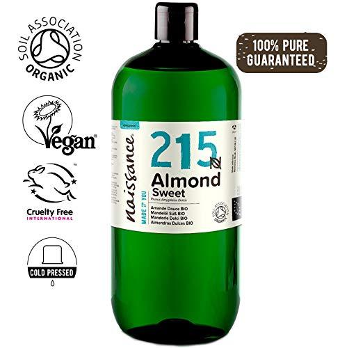 Naissance Mandorle Dolci Certificato Biologico Puro 1L – Vegan, senza OGM – Ideale per Pelle e Capelli, Aromaterapia e come olio da Massaggio di base