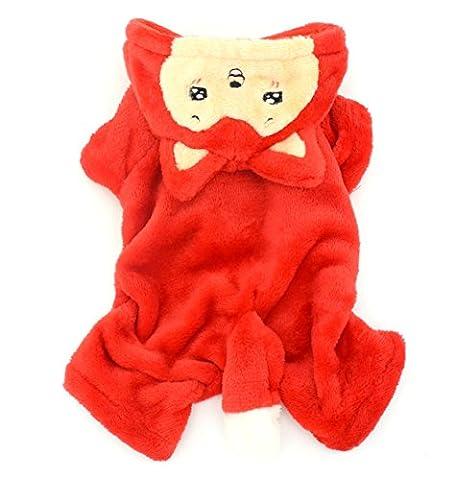 smalllee _ LUCKY _ ranger Vêtements Pet Petit chien chat en polaire chaude Little Fox Halloween pour femme déguisement rouge