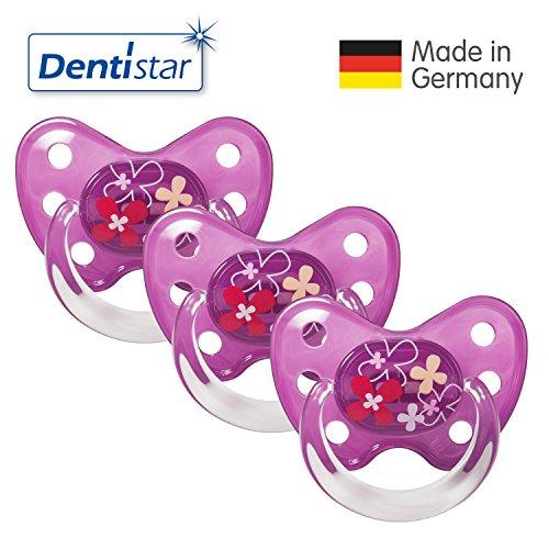 Dentistar® Schnuller 3er Set- Nuckel Silikon in Größe 3, ab 14 Monate - zahnfreundlich & kiefergerecht - Beruhigungssauger für Babys - Blumen Lila
