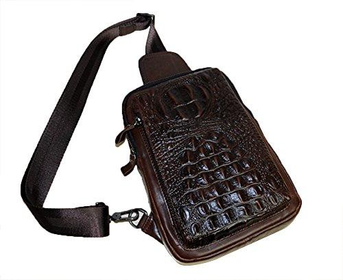 Genda 2Archer Weinlese -Krokodil Kleine Brusttasche Reisetasche aus Leder (kaffee) kaffee