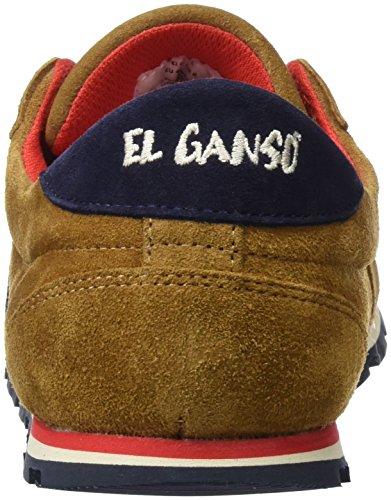 El Ganso Zapatilla Running Ante Cuero Cinta, Baskets Basses Homme Marron - Cuero