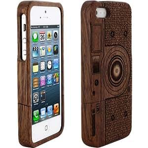Skque® etui coque en bois pour Iphone 5 conception de l'appareil photo M1