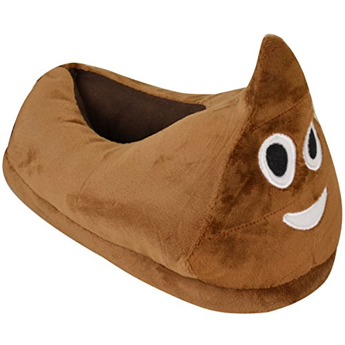 Fashion Thirsty Kids Childrens Emoji Unisex Indoor Slippers Warm Winter Xmas Gift Poo Wink Joy