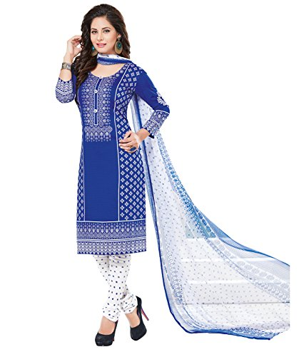 ishin Women\'s Synthetic Printed Unstitched Anarkali Salwar Suit Dress Material with Dupatta(Daramb1509R_Blue_Free Size)