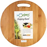 Hokipo Circular Eco-Friendly Natural Bamboo/Wooden Chopping Cutting Board With Handle, 30 X 30Cm