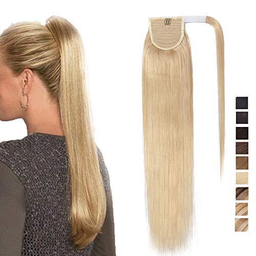 """SEGO Pferdeschwanz echthaar remy human Haarteil Zopf extensions Ponytail Haarverlängerung clip in Pony Hellblond 16""""(45cm)-80g"""