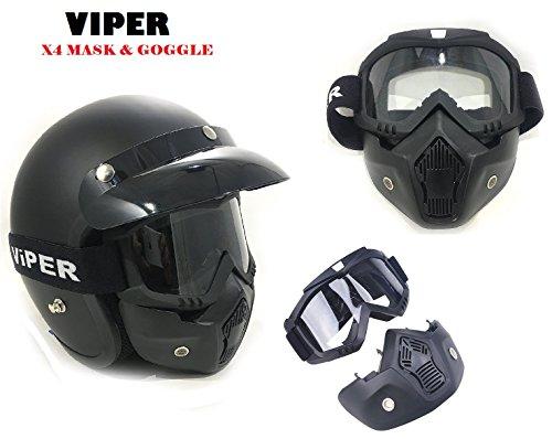 Viper MASCHERA RS04 Staccabile X4 Occhiali & Maschera viso adatta per tutti i Caschi aperti, Scudo maschera per Jet Casco LS2, RS-05, V06 & VCAN Casch